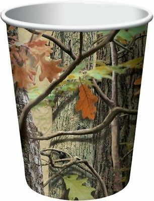 Hunting Camo 9 oz Hot Cold Paper Cups 8 Birthday Party Woods Nature