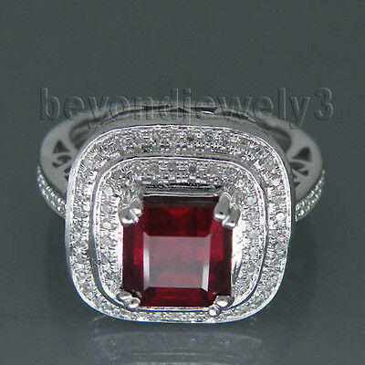 Solid 14K White Gold Genuine Natural Diamond Blood Ruby Engagement Jewelry Ring
