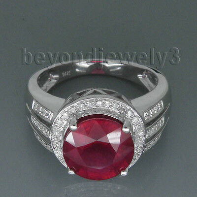 Solid 14K White Gold 4.10ct Genuine Natural Diamond Blood Ruby Engagement Ring
