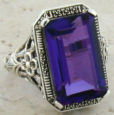 6 CT. LAB AMETHYST ANTIQUE ART DECO STYLE .925 STERLING SILVER RING SIZE 8,#373