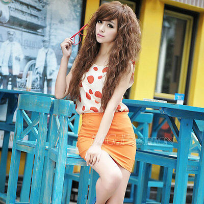 New Womens Fashion Sexy long Full Curly Wavy Hair Wigs Cosplay Party Light brown