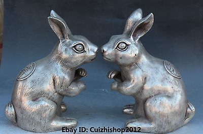"10"" Chinese Bronze Silver Fengshui Folk Animal Zodiac Year Rabbit Statue Pair"