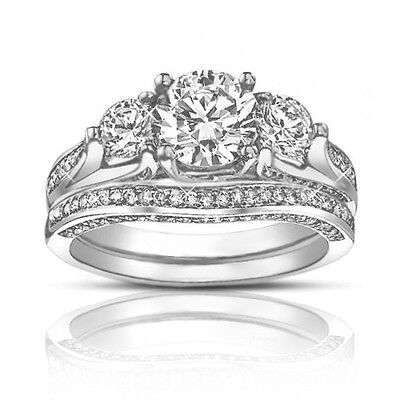 2.50 Ct TW Round Diamond Engagement Ring With Wedding Band In Platinum