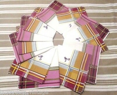 FRENCH 1950s MEN CHECK HANDKERCHIEFS -MONOGRAM: M -LOT OF 12 -MADE IN FRANCE-NEW