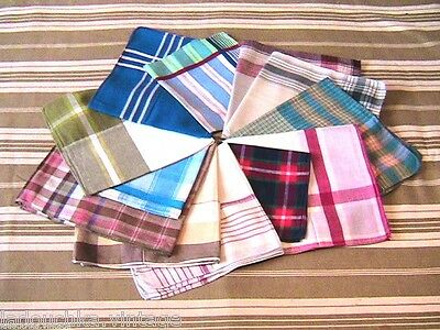 FRENCH 1950s MEN PLAIDED COTTON HANDKERCHIEFS - LOT OF 12 - NEW FROM FRANCE