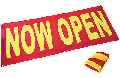 Fabric 3x8 ft Banner Sign Store Grand Opening Vinyl Alternative - NOW OPEN rb
