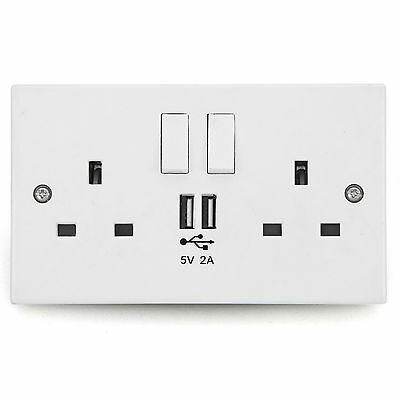 Wall Socket USB Plug Double Power Outlet UK 13 Amp Charger 2 Gang Electric Port