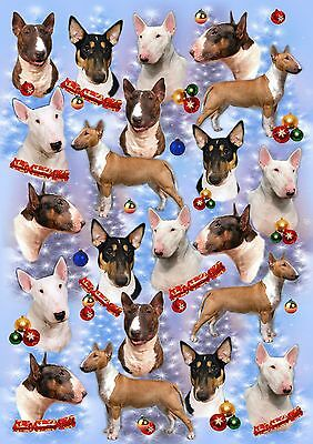 Bull Terrier Dog Christmas Wrapping Paper By Starprint - Auto combined postage
