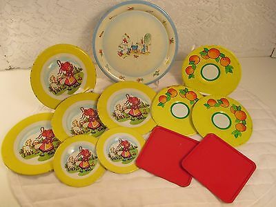 VINTAGE CHILDRENS LOT TIN METAL PLAY DISHES PLATES DAHER HOLLAND LITTLE BO PEEP