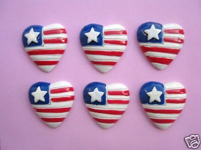 20 USA Star Patriotic Heart Flag Resin July 4th Craft Button/Red/Navy/White B67
