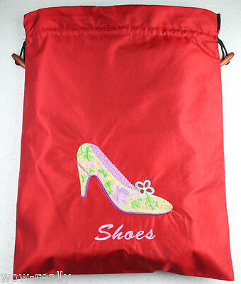1PC Red Lady Primrose Embroidered Shoe Bag Drawstring top By Hand