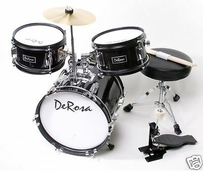 "3 PC 12"" Black Starter Drum Set Kid Music Class Band Perfect Gift for 2-5yr olds"
