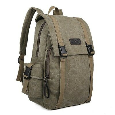 New Green Men Women Vintage Canvas Bag Rucksack Shoulder Travel Backpack-1108