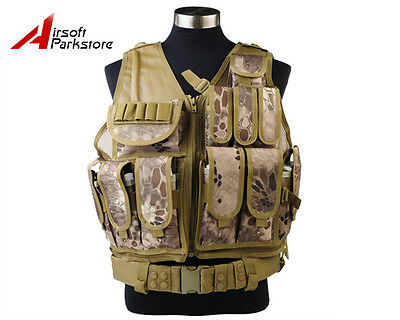 Tactical Military SWAT Police Airsoft Molle Combat Vest w Pistol Holster Banshee