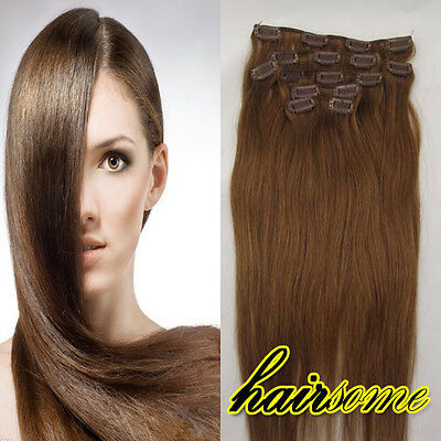 """HOT Sale~Fashion Style~7pcs 20""""Clip In Human Hair Extension#8 Chestnut Brown HSM"""