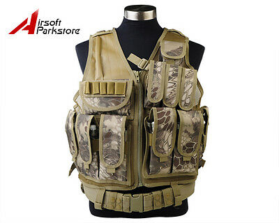 Tactical Military SWAT Police Airsoft Molle Combat Vest with Pistol Holster HLD