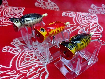 VINTAGE OLD FISHING LURES FRED ARBOGAST HULA POPPERS (3) ALL COACH DOG COLORS