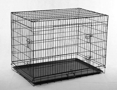 "Black 30"" 2 Doors Pet Folding Suitcase Dog Cat Crate Cage Kennel Pen w/ABS Tray"