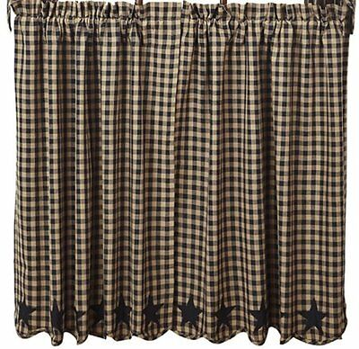 Country Black Star Dark Tan Check Lined Curtain Tiers 72x36 Check Size 1/2 in