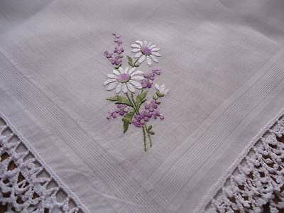 VINTAGE HANDKERCHIEF ~HAND EMBROIDERED WHITE DAISIES & LAVENDER ~ CROCHET LACE