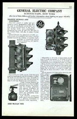 1932 General Electric traffic signal stop light 3 models vintage trade print ad