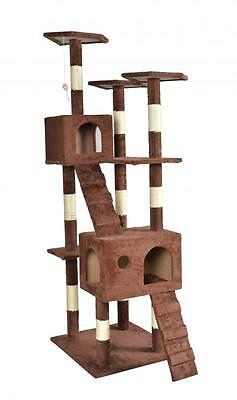 """New 73"""" Brown Cat Tree Play House Condo Furniture Toy Bed Post Pet House 9073"""