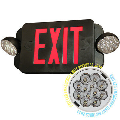 NEW LED Exit Sign & Emergency Light – RED Compact Combo UL924 EL2BR Black body