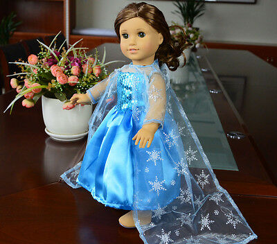 """Doll Clothes fits 18"""" American Girl Handmade Blue Party Dress"""