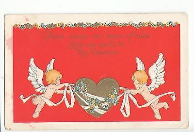 Vintage Embossed Postcard - And Say You'll be My Valentine. Unposted. 1900s