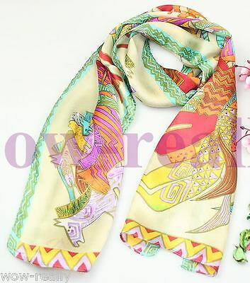 Beautiful 100% Silk Abstract Horse Pattern Colorful Shawl Scarf #1711