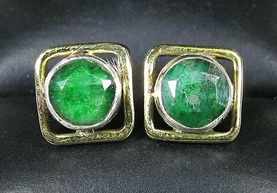 Victorian 14k Gold/925 Sterling Silver 1.46ct Genuine Emerald Stud Earrings 3.3g