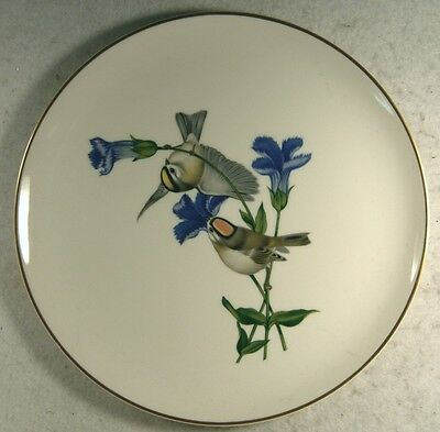 American Song Birds Gold Crowned Kinglet  Fringed Gentian Plate Syracuse China