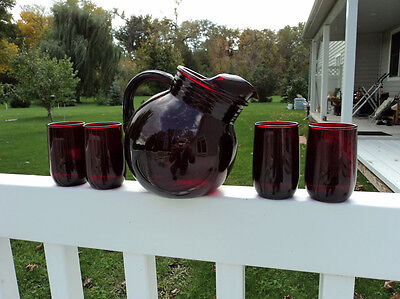 HOCKING ROYAL RUBY RED  JUICE PITCHER AND TUMBLER SET