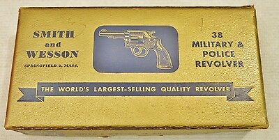 """Vintage Smith and Wesson S&W 38 Military & Police Revolver Gold Box, Blue, 2"""""""