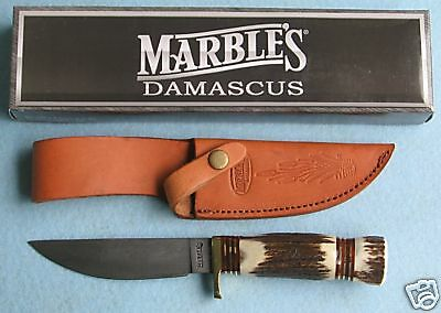 MARBLES DAMASCUS HUNTER STAG knife/knives - MR102D - New In Box