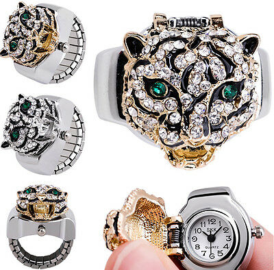 Leopard Vintage Crystals Cover Elastic Finger Ring Watches Fashion Gift Unisex