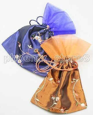 2PCS RARE HANDMADE CHARMING SILK&VOILE BAGS Blue and Brown