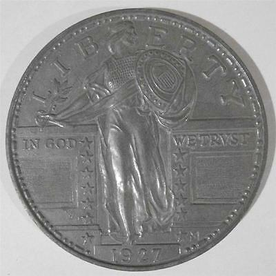 "Vintage Old Large 3"" Novelty Coin Coaster 1927 SILVER QUARTER DOLLAR"