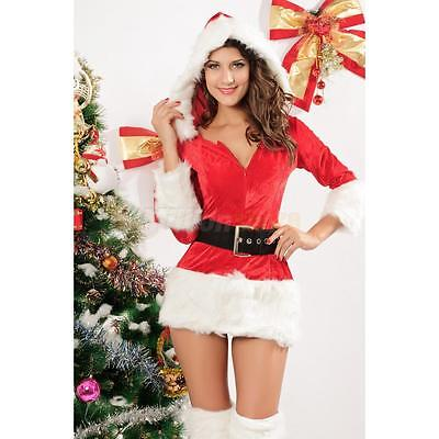 4PCS Chirstmas Dress Hat Belt Sexy Show Club Cosplay Costume Red