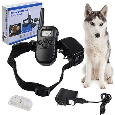 328Yd Waterproof Rechargeable 100 Level Shock Remote LCD Pet Dog Training Collar