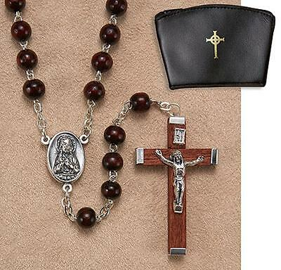 Brown Wood Bead Rosary with Sacred Heart Center in Celtic Cross Black Vinyl Case