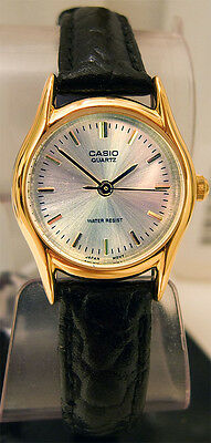Casio Genuine Ladies Analog Silver and Black Leather Band Watch LTP1094Q-7A New
