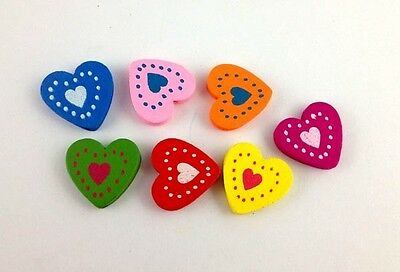 60PCS Mixed colours wooden Heart Beads #20769