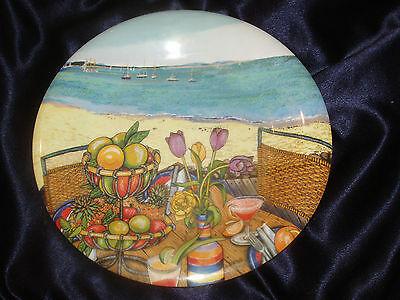 SAKURA EVOLUTION MELAMINE PLATE SEASIDE OCEAN SCENE BOATS TULIPS FRUIT TUSCAN