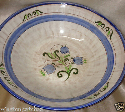 "STANGL TULIP BLUE TERRA ROSE LINE 11 1/4"" ROUND SERVING BOWL BLUE FLOWERS"