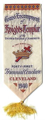 1940 41st Triennial Conclave Knights Templar KT Cleveland Woven Ribbon