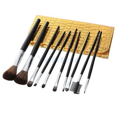 New 10pcs Professional Cosmetic Makeup Brush Set With Golden Cosmetic Bag Black