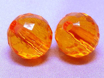 14mm 15pcs CLEAR ORANGE RED ACRYLIC LUCITE ROUND BEADS TY2718