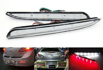 2010+ Mazda3 CLEAR Lens Bumper Reflector LED Backup Tail Brake Light Mazdaspeed3
