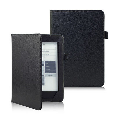 Black new PU LEATHER CASE COVER FOR NEW KOBO AURA H2O eReader + TOUCH PEN